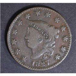 1827 LARGE CENT, NICE F/VF