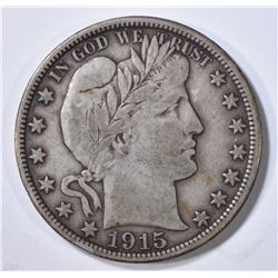 1915-D BARBER HALF DOLLAR ABOUT XF