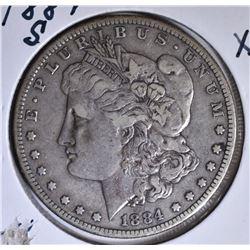 1884-S MORGAN DOLLAR, XF