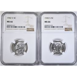 1942-S & 45-S SILVER JEFFERSON  NICKELS NGC MS-66