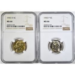 1943-P,D SILVER JEFFERSON NICKELS NGC MS-66