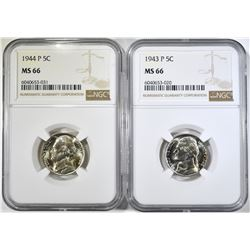 1943-P & 44-P SILVER JEFFERSON NICKELS NGC MS-66