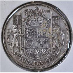 1947 CANADA HALF DOLLAR MAPLE LEAF XF+ KEY DATE