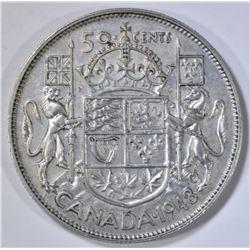 1948 CANADA HALF DOLLAR AU RARE KEY DATE