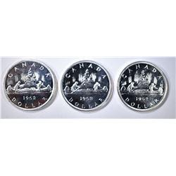 3-CH BU 1962 CANADIAN SILVER DOLLARS
