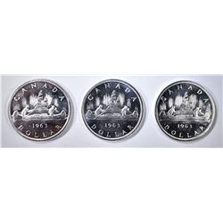 3-CH BU 1963 CANADIAN SILVER DOLLARS