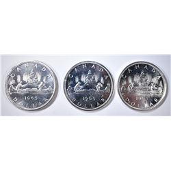 3-CH BU 1965 CANADIAN SILVER DOLLARS