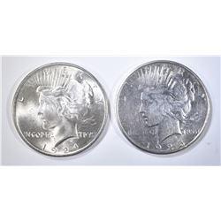 1924 GEM BU & 25-S AU PEACE DOLLARS