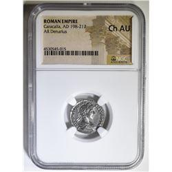 AD 198-217 CARACALLA AR DENARIUS NGC CH AU