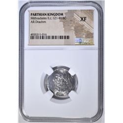 121-91 BC MITHRADATES II  AR DRACHM NGC XF