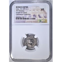 AD 209-211 GETA AR DENARIUS  NGC VF