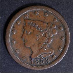 1853 HALF CENT  VF