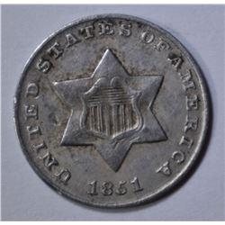 1851 3-CENT SILVER  XF/AU