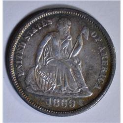 1869-S SEATED LIBERTY DIME  CH AU