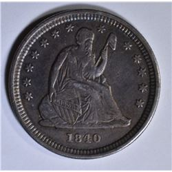 1840-O DRAPERY SEATED LIBERTY QUARTER CH AU