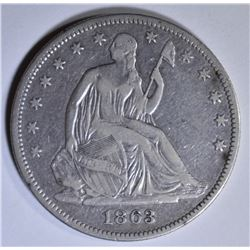 1863 SEATED LIBERTY HALF DOLLAR  VF