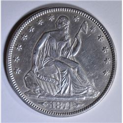 1874 SEATED LIBERTY HALF DOLLAR  CH AU