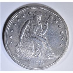 1872 SEATED LIBERTY DOLLAR  AU/BU