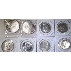 $3 FV 90% SILVER HALVES AND 2- 1oz .999 SILVER