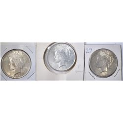 3-1923 PEACE DOLLARS, XF