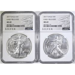 2 2017 AMERICAN SILVER EAGLES NGC MS-69