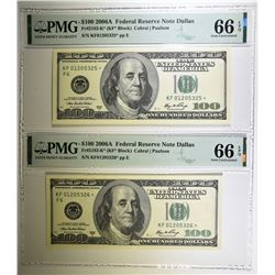 2 $100 FEDERAL RESERVE NOTE DALLAS PMG 66 EPQ