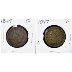 1829 GOOD, & 1847 FINE LARGE CENTS