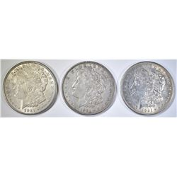 1921-P, D, & S MORGAN DOLLARS XF OR BETTER