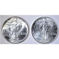 2-BU 1986 AMERICAN SILVER EAGLES 1st YEAR