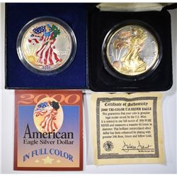 COLORIZED & GOLD ENHANCED 2000 SILVER EAGLES
