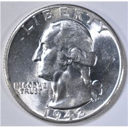 1942-D WASHINGTON QUARTER  CH BU