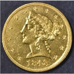 1848 $5 GOLD LIBERTY  NICE BU  OLD CLEANING