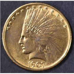 1907 $10 GOLD NO MOTTO INDIAN HEAD CH BU