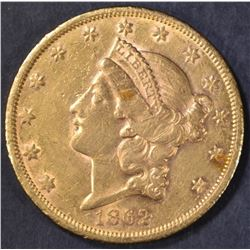 1862-S $20 GOLD LIBERTY  BU  OLD CLEANING