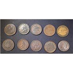 LOT OF 10 DIFFERENT CIVIL WAR TOKENS