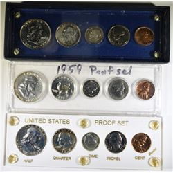 1958 & 2 1959 U.S. PROOF SETS IN PLASTIC HOLDERS