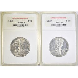 LOT OF 2 CCGS GRADED WALKING LIBERTY HALF DOLLARS