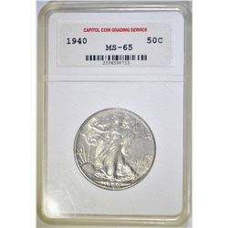 1940 WALKING LIBERTY HALF DOLLAR  CCGS GEM BU