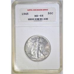 1945 WALKING LIBERTY HALF DOLLAR  CCGS SUPERB GEM