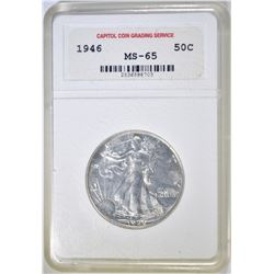 1946 WALKING LIBERTY HALF DOLLAR  CCGS GEM BU
