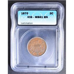 1870 2-CENT PIECE  ICG MS-61 BN LAMINATION