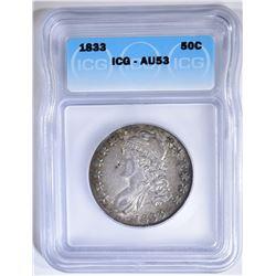 1833 BUST HALF DOLLAR  ICG AU-53