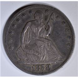 1858-O SEATED LIBERTY HALF DOLLAR  XF