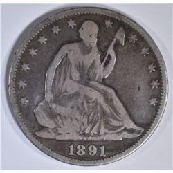 1891 SEATED LIBERTY HALF DOLLAR  VG/F