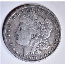 1881-CC MORGAN DOLLAR  VF  CLEANED