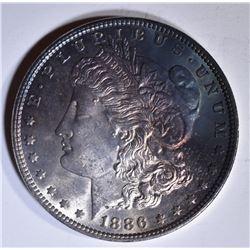 1886 MORGAN DOLLAR  GEM BU  RAINBOW COLOR