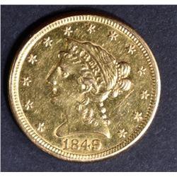 1849 $2.5 GOLD LIBERTY  AU LIGHT MARKS