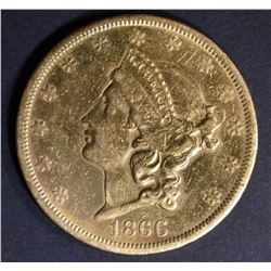 1866-S WITH MOTTO $20 GOLD LIBERTY AU CLEANED