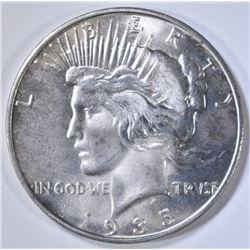 1935-S PEACE DOLLAR, AU/BU CLEANED