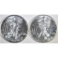 2-BU 1997 AMERICAN SILVER EAGLES